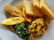 Ackee and salt fish w/ greens and plantains