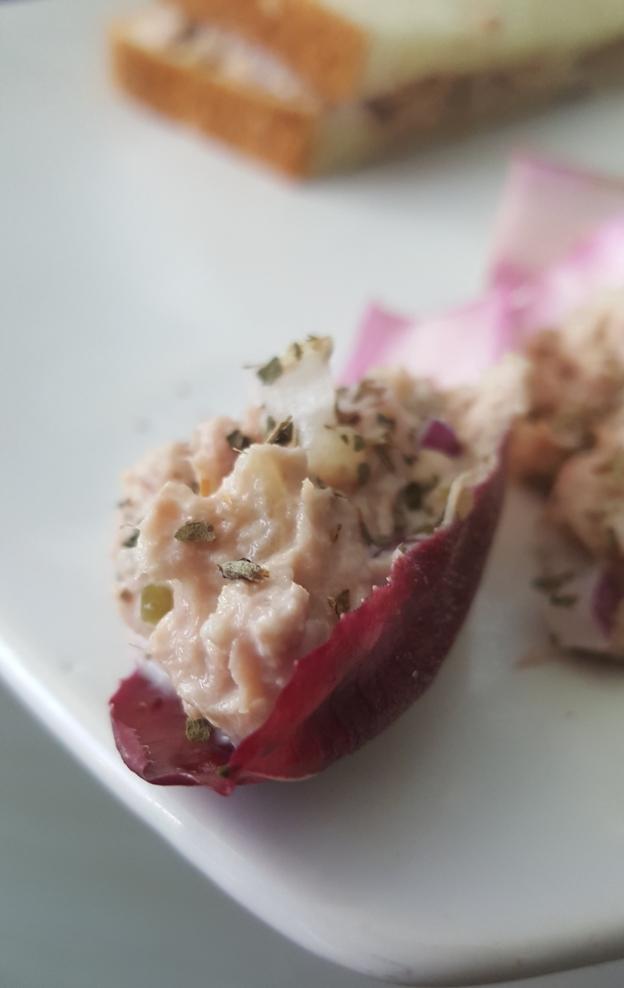 a scoop of tuna